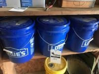 3 buckets with lids, some smoker pellets for smoker grill included in buckets