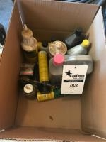 Box of assorted lubes and fluids