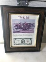 Older $2.00 Bill framed history, with a 1963 note included, issued around the year 1976