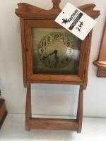 Handmade wall clock, with key, approx 32 inches tall