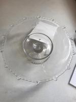 Cake Platter, laser etched glass