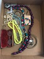 Costume Jewelry and an antique set of spectacles