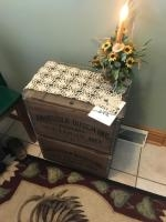 2 Annheuser Busch Wooden Crates transformed into an end table. Floral arrangement included