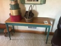 Wooden Couch Table, with assorted contents