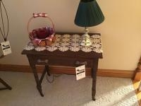 Antique/ Vintage Table, with dovetailed drawers, on wooden casters, 17 x 30 inches