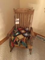 Wooden Rocking Chair, with upholstered seat