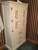 White Wardrobe, with stenciling, 75 inches tall, 39 inches wide, very clean