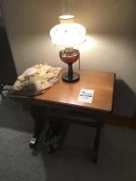 Wooden Lamp table, includes working lamp, doilies, and basket