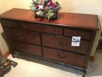 Wooden Buffet with metal legs, dovetailed drawers, 60 inches wide