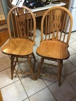 Pair of wooden bar height stools
