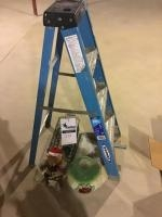 4 foot step ladder, and assorted decor