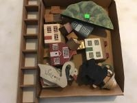 Assorted wooden houses and animals