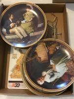 Norman Rockwell Painted plates and stands