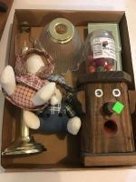 Lamp, Dolls, and wooden bubble gum dispenser