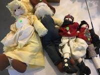 4 cloth dolls, very clean