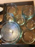 Several Pyrex dishes and assorted glasses