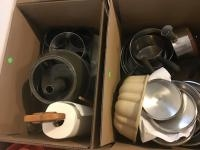 2 boxes of assorted pots and pans