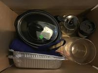 Box includes crockpot and assorted dishes