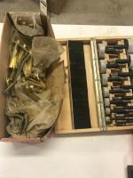 Set of Forsner bits and assorted door hardware