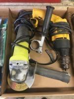 Dewalt Electric Drill and Ryobi Grinder