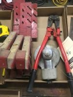 Pneumatic sander, bolt cutters, and 3 roof jacks