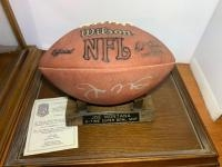 Joe Montana 3- time Super Bowl MVP, Signed football in case. Certificate of Authenticity