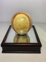 St Joe Mustangs signed baseball in case.