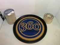 360 Vodka Plastic serving tray, MLB-Direct TV coasters, Blue Chair Bay coasters.