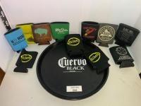 Cuervo Black plastic serving tray and misc foam koozie's