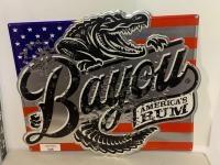 Bayou America's Rum metal sign