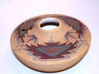 """Navajo sandpainted pottery vase - 8"""" tall"""