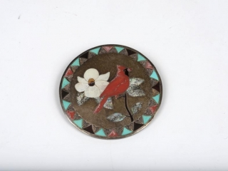 Sterling silver turquoise, coral and onyx mother of pearl cardinal pendant/brooche