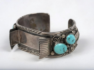 """Sterling silver and turquoise cuff (with interchangeable center) 7 1/2"""" x 1 1/4"""""""