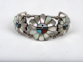 """Hopi Sun God sterling silver turquoise, coral, onyx and mother of pearl cuff with 3 (desc) 6 1/2"""" (largest 1 1/2"""" center)"""