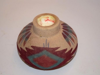 """Navajo sandpainted pottery candle stick holders - 4"""" tall & candle holder with shade - 4"""""""