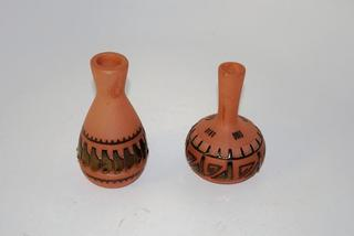 """Two Navajo """"scratched"""" pottery- teal and black (larger one has slight damage)"""