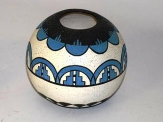 Native American blue/black pottery signed RMCH 1995 BHS