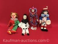 4 misc clown Dolls / includes Faith Wick doll