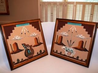 Framed Navajo sand painting