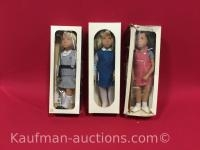 3 Sasha Dolls / blonde school, blonde tunic & bronette red pinafore