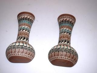 """3 Acoma pottery vases - 5 1/2"""" tall"""