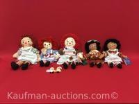 5 Raggedy Ann & Raggedy Andy Dolls