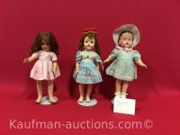 Ideal doll, 2 unmarked antique dolls