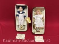 2 Franklin Heirloom porcelain dolls / Heinz baked bean boy, coats and Clark Thread