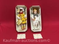2 Franklin Heirloom porcelain dolls/ Mary Jane candy and Ralston Purina
