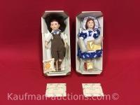 2 Franklin Heirloom porcelain dolls/ Domino sugar and Ceresota flower