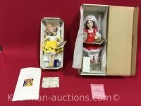 2 Franklin Heirloom porcelain dolls / Morton salt and the armour girl