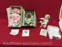 3 knowles porcelain dolls/ Lisa, Danielle, baby book treasures