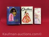 3 barbie dolls/ belle, christmas candi & spring pedals