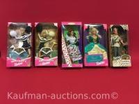 5 barbie dolls/ university, mexican, royal enchantment & animal kingdom